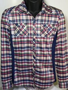 REI Womens Size Medium Long Sleeve Vented Hiking Backpacking Shirt Plaid  #REI #Western #Casual