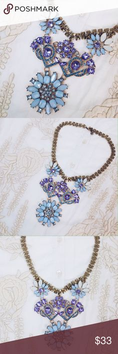 Jewelry | Floral pendant necklace Gorgeous brand new necklace // nwot, tags only removed to photograph properly // mix of light blue and violet crystal stones to perfectly decorate your neckline // looks great with fully buttoned up blouse as collar decor! More pictures modeled coming soon  Karis' Kloset Jewelry Necklaces