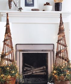 garden center bamboo topiaries wrapped with #Christmas lights