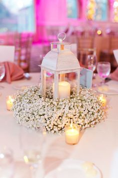 Baby's Breath Wreath Centerpiece with Lantern and Candles