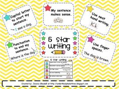 5 Star Writing.... Great visual checklist/reminders for my new little authors!