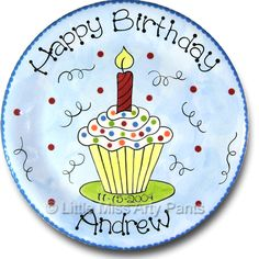Little Miss Arty Pants - Personalized Pottery - Swirly Frosting Cupcake Birthday Plate - www.LittleMissArtyPants.com