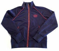 Womens Size S NIKE Team USA Olympics Track Jacket, Navy Blue/ Red, Athletic