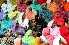 Somali women in traditional garbasaar; a colorful shawl mainly worn by married women.