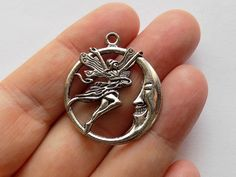 4 Fairy on the Moon Charm Pendants  S0033 by StashofCharms on Etsy