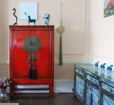 Statement Furniture. Red Chinese Wedding Cabinet and Chinese Crackle Lacquer Sideboard. #weddingcabinet #restoredfurniture #furniture #chinesefurniture #interiordesign #interiorstyling #interiors #asianart #nookdeco