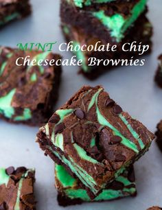 Mint Chocolate Chip Cheesecake Brownies on MyRecipeMagic.com #brownies #cheesecake #mint #chocolatechip