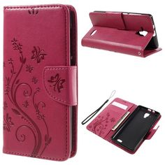 for Lenovo A 536 Cover Bag Imprint Flower Butterfly PU Leather Wallet Shell for Lenovo A536 Mobile Phone Case