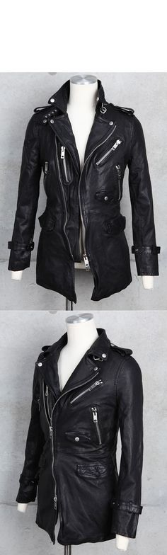 Outerwear :: Leather Jackets :: Mid-length Rider Coat Jacket 5size-Leather 18 - Mens Fashion Clothing For An Attractive Guy Look