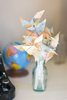 These pin wheels made from maps are adorable. They would be really cute at a birthday party, for kids or grown ups.