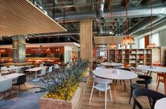 Bakirkure Architects have developed a new canteen and cafeteria space for ING Bank's Turkey Headquarters in Istanbul. Cafeteria Design, Corporate Interiors, Office Interiors, Corporate Offices, Food Court Design, Office Canteen, Catering Design, Workplace Design, Office Interior Design