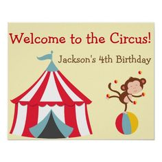 Circus Birthday Sign- Personalized Poster