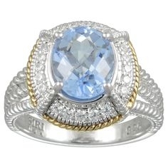 MARC 14k Yellow Gold Overlaid Sterling Silver Blue Synthetic Quartz Cubic Zirconia Ring | Overstock.com Shopping - The Best Deals on Gemstone Rings