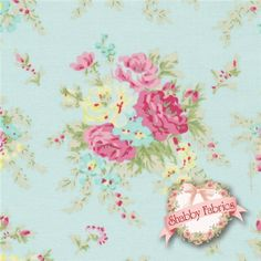 """Rosey PWTW064-TEALX Little Bouquet Teal By Tanya Whelan For Free Spirit: Rosey is a collection by Tanya Whelan for Free Spirit.  100% cotton.  43/44"""" wide.  This fabric features pink rose bouquets tossed on a blue background."""