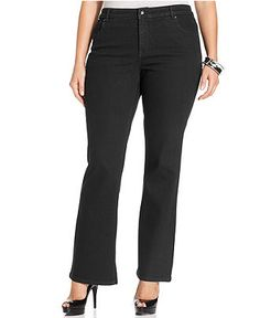 Style&co. Plus Size Jeans, Tummy Control Bootcut, Black Wash - Plus Size Jeans - Plus Sizes - Macy's