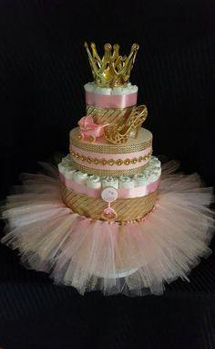 Royal Princess/wearable Tutu skirt/ It's a Girl/ Pink N Gold/tulle/ Gold crown /Diaper cake/stroller/bottle/jewel you choose 2 n 1 cake - Baby shower - Baby Tips Idee Baby Shower, Baby Girl Shower Themes, Girl Baby Shower Decorations, Baby Shower Princess, Baby Shower Diapers, Baby Shower Gifts, Girl Baby Shower Cakes, Baby Gifts, Diaper Cake Centerpieces