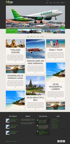B-Trav Tour new website layout, grid style with responsive design.