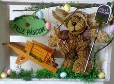 Guirlanda de Páscoa- 2013  Coelho de Palha e Carroça.  Flores d'k