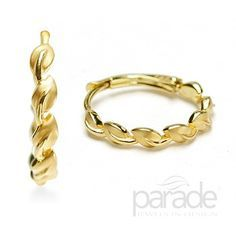 from Parade Design Hoops of satin finished cascading leaves are crafted in the finest 18K yellow