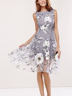 Floral Print Round Neck Sleeveless Spliced Dress - Gray - S - GRAY S