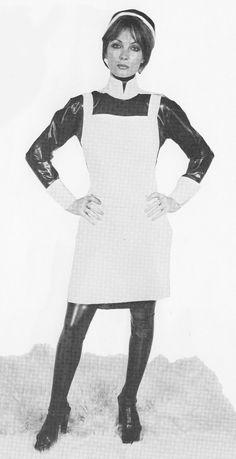 Matron wearing a lovely heavy rubber uniform. Latex Uniform, Maid Uniform, Plastic Aprons, Heavy Clothing, Latex Costumes, Latex Lady, Sexy Nurse, Heavy Rubber, Nursing Clothes