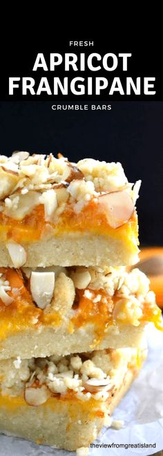 Apricot Frangipane Crumble Bars ~ these bars are easy to put together, and the flavor combination of apricot and almonds is intoxicating! They are a beautiful way to use fresh, summer apricots. Tart Recipes, Best Dessert Recipes, Brownie Recipes, Fun Desserts, Delicious Desserts, Almond Tart Recipe, Coconut Tart, Apricot Dessert, Apricot Bars