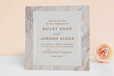 """""""Marble Matrimony"""" - Bohemian Foil-pressed Wedding Invitations in Mountain by AK Graphics."""
