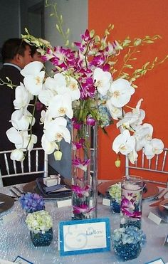 Fall Spring Summer Winter Blue Ivory Purple White Centerpieces Indoor Reception Outdoor Reception Wedding Reception Photos & Pictures - WeddingWire.com