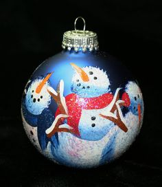 Personalized Winter Snowmen Ornament - Babys Birth or Birthday or Christmas - Hand Painted Glass Ball Ornament