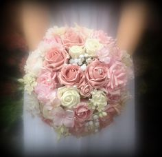 Brides artificial pink wedding bouquets with a vintage glamorous twist diamante and pearls with hydrangea ,blossom and foam roses on Etsy, £68.00