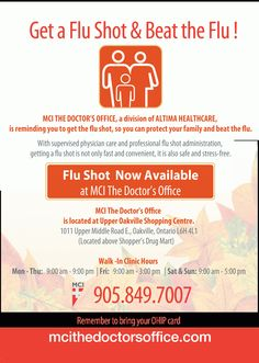 Get a Flu Shot & Beat the Flu! Flu shots now available at Walk In Clinic, Doctor Office, Flu, You Got This, Health Care, Shots, How To Get, Health