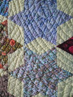 "Handmade Quilt Queen Size 80""x 66"" Star Design Vintage 100 Cotton Multi Color | eBay"
