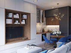 Small loft on Behance Small Apartment Interior, Small Apartment Design, One Bedroom Apartment, Small Apartments, Small Spaces, Living Room Decor Cozy, Condo Living, Küchen Design, House Design
