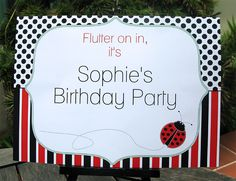 Ladybug birthday party welcome sign
