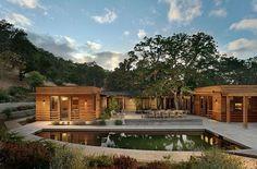 Nice modern pond & courtyard!