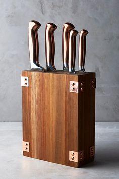 Slide View: 1: Wood & Copper Knife Block