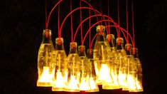 Recycled Coca Cola bottles made into a Chandelier