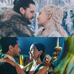 Kit Harington & Emilia Clarke & their altar egos, Jon Snow & Daenerys Targaryen A Dance With Dragons, Mother Of Dragons, Kit And Emilia, Jon Snow And Daenerys, Game Of Thrones Dragons, Fantasy Love, Game Of Trones, I Love Games, Got Memes
