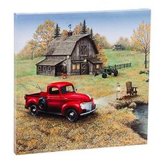 Another great find on Red Farm Truck LED Wrapped Canvas Canvas Wall Decor, Wall Art Decor, Vasos Vintage, Red Truck Decor, Old Barn Doors, Wine Poster, Farm Trucks, Pickup Trucks, Truck Paint