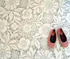 Stencilled floor, from glorious Gertie, of Gertie's New Blog for Better Sewing.