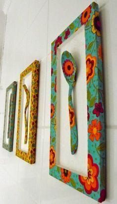 Kitchen Decorating Ideas and Utensils - Ideias para a casa - I will bring to this publication ideas for decorating and utensils with recyclable things for the k - African Crafts, African Home Decor, Diy Crafts For Home Decor, Arts And Crafts, Diy Wall Art, Diy Art, Painted Spoons, Cardboard Crafts, Home Decor Furniture