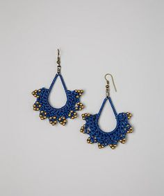 Navy Crocheted Bead Star Earrings by PANNEE JEWELRY  - regularly $13, Zulily price $8.99 1/19/2014