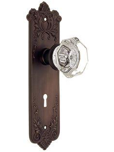 Nostalgic Door Hardware. Wrought Bronze Lorraine Lock Set With Octagonal Glass Knobs