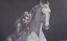 V. BELLINGHAM THE GREY HORSE 1960'S PRINT ON HARDBOARD FRAMED BY BOOTS