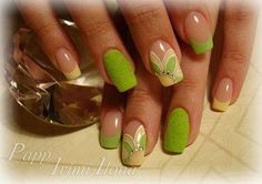 french manicure - lime yellow floral - fuzzy nails - nail art - summer nails