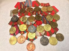 #Russian #WW2 #Commemorative #Military #Medals with #Ribbons LOT 50 USSR