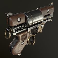 ArtStation - Steampunk revolver, Gregory Trusov Sci Fi Weapons, Concept Weapons, Fantasy Weapons, Revolver Pistol, Revolvers, Steampunk Illustration, Pistol Annies, Steampunk Gun, Homemade Weapons