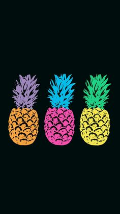 Pineapple Neon Pop Art Black Background