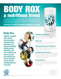 It's hard to stay nourished and healthy as a teenager! Parents- give your teen the pure nutrition of Usana's Body Rox to get them through their busy schedules, keep their brains sharp and boost their immune system! Health And Wellness Coach, Wellness Company, Health Fitness, Usana Vitamins, Daily Vitamins, Antioxidant Supplements, Nutritional Supplements, Keeping Healthy, How To Stay Healthy
