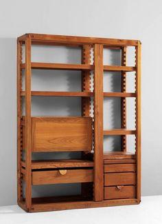 Pierre Chapo; Elm Bookcase, 1960s.